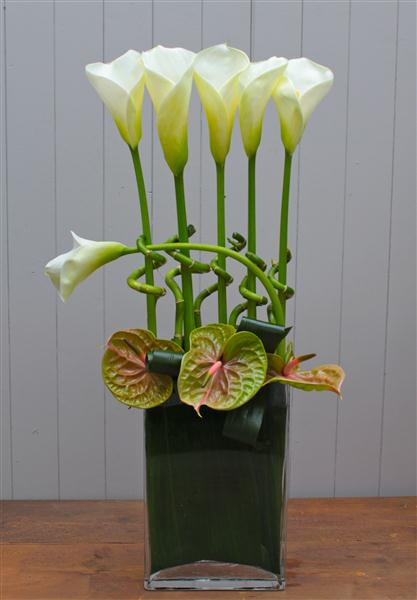 Arum Lily and Luck Bamboo Deluxe